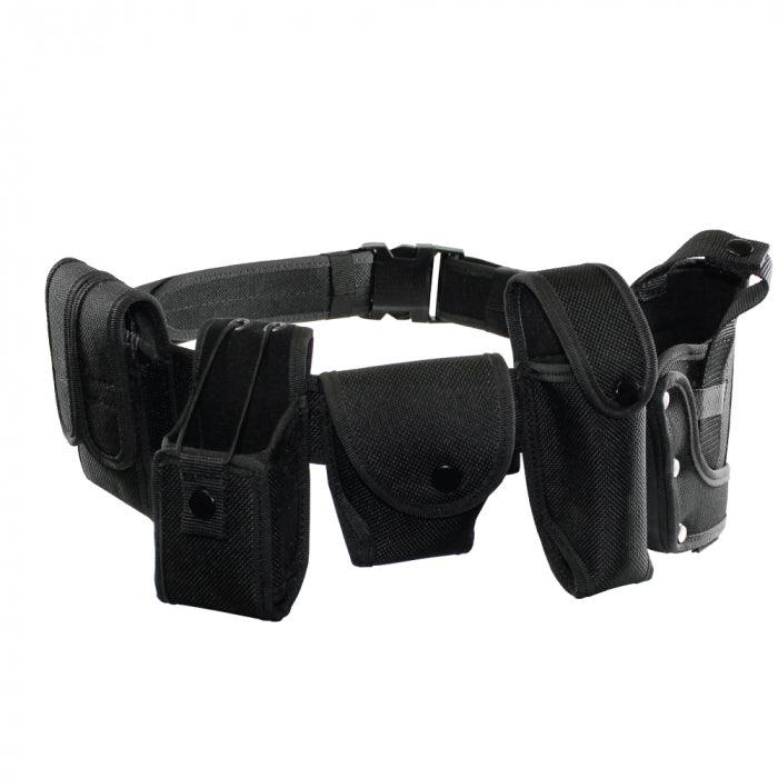 Law enforcement, military, security guards and civilian use duty belts with holsters.