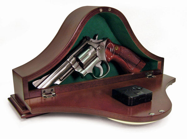 Gun concealment clock with hidden compartment to safely hide valuables or handguns inside.