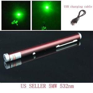Rechargeable USB Green Laser Pointer Wine Red Casing for hobbies and office presentations.