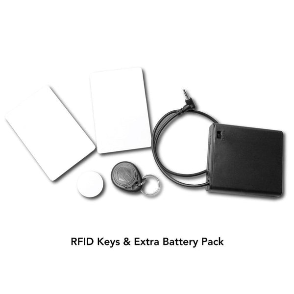 RFID keys and back up battery pack for wall and vent safes with secret hidden compartments.