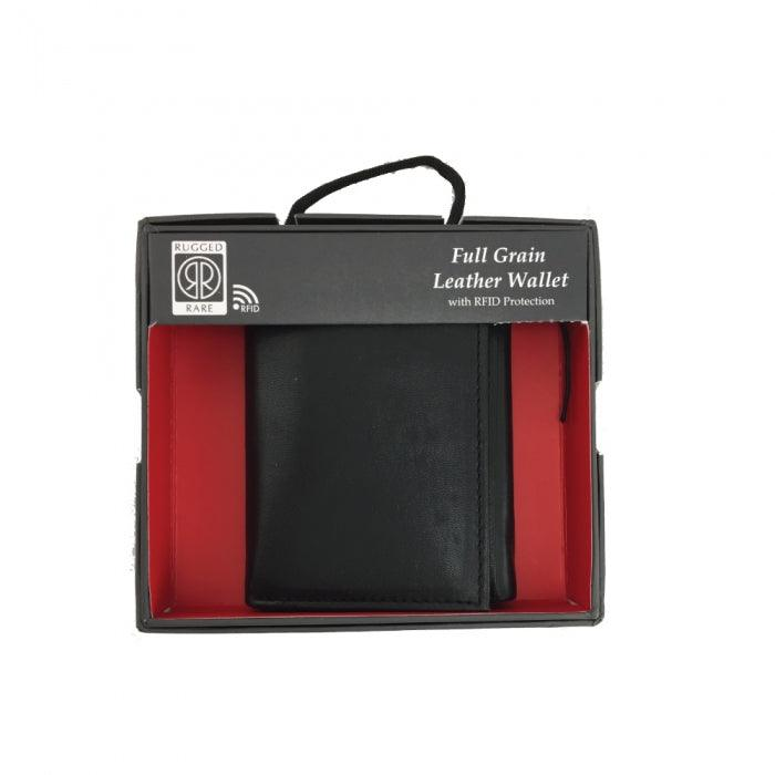 Leather Wallet Bifold w/ Side Flap and RFID Protection