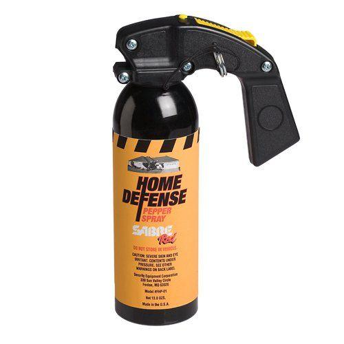 Sabre home defense spray with wall mount bracket.