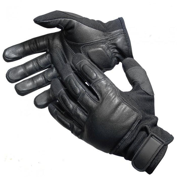 Police Force Leather Weighted Knuckle Gloves