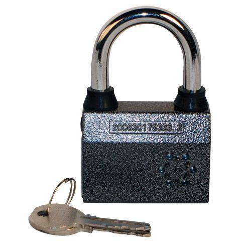 Small alarmed padlock with motion sensor that will arm and sound after 15 seconds when lock is not unlocked.