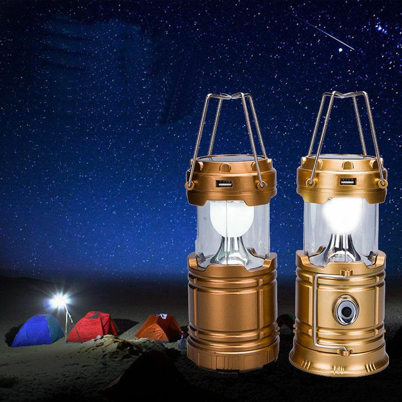 Solar USB Charging Rechargeable Outdoor Camping Lantern Light 6 LED Lamp US