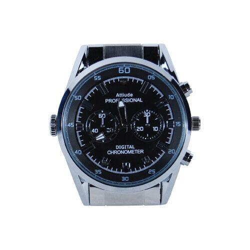 Spy watch with DVR, hidden night vision camera and silver band for surveillance.