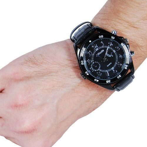 Spy wrist band watch shown worn and how it appears as a normal looking watch.