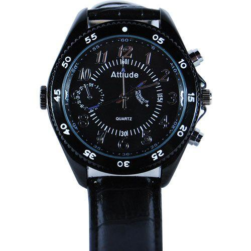 Spy wrist watch with DVR, hidden camera, night vision and black wrist band.