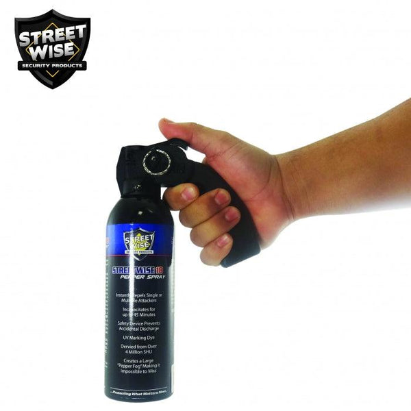 Law enforcement strength pepper spray with safety pin offers effective crowd control and self defense protection.