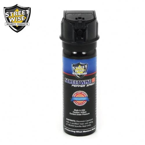 Powerful pepper spray with safety flip top for professionals and civilian self defense protection.