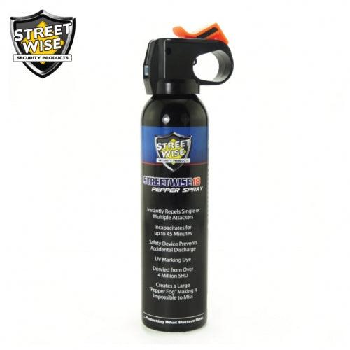 Streetwise Security high volume long reach fog pepper spray with safety lock.