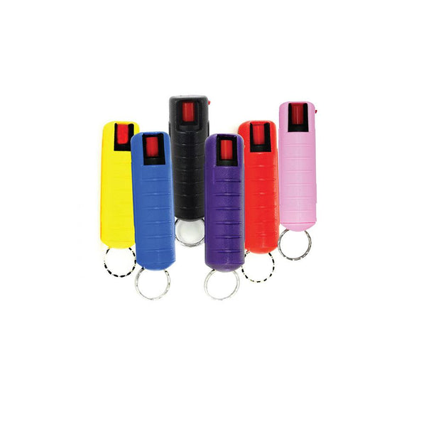 Bulk wholesale discount pricing for 50 Streetwise Security mix color hard case pepper sprays with key-chain.
