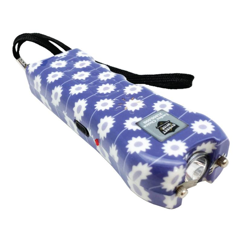 Streetwise Ladies Choice stun gun with purple color daisy design for women self defense safety.