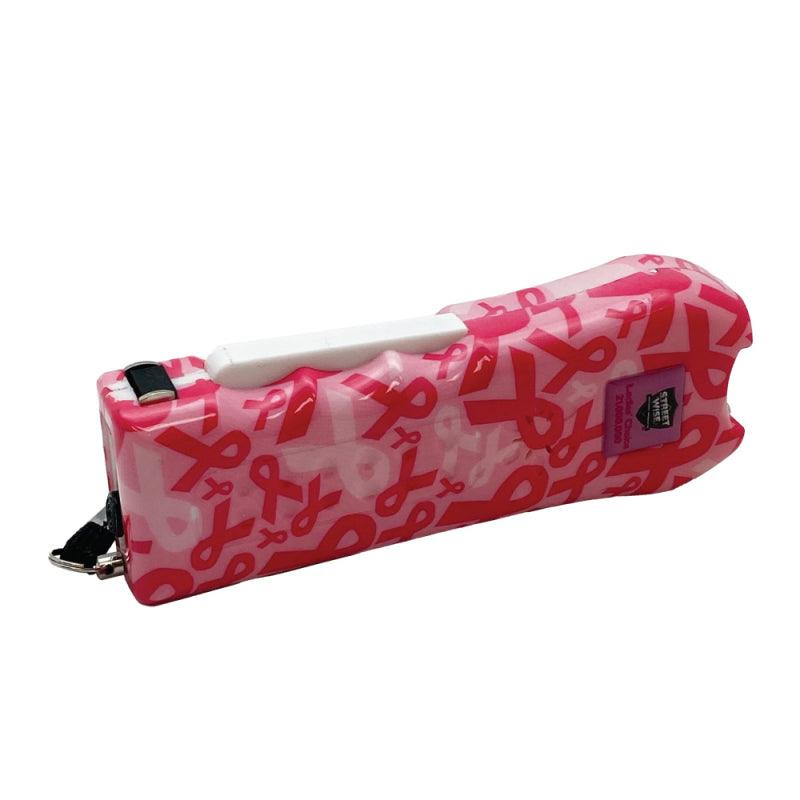 The Streetwise Ladies' Choice 21,000,000 stun gun pink ribbon design profile view of the side and electrode stun probes.