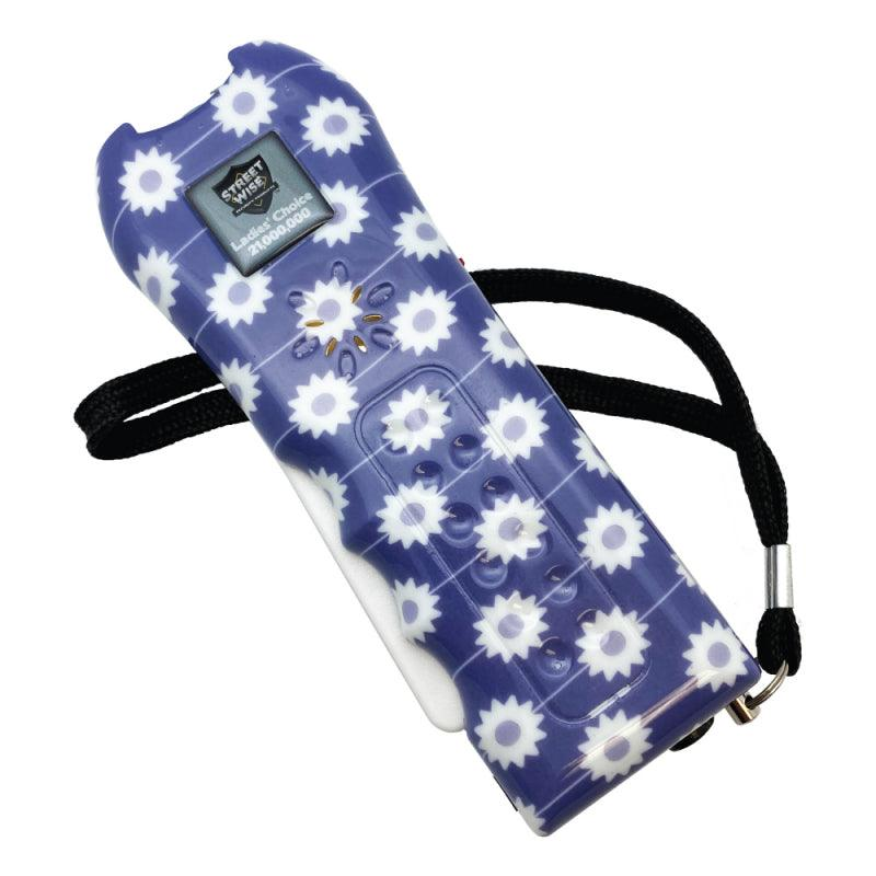 Streetwise Ladies Choice stun gun with purple color daisy design for women includes safety disable pin.