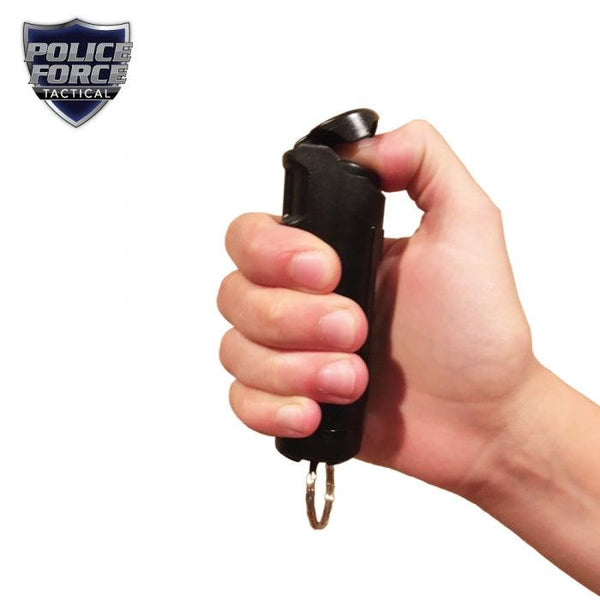 Key-chain pepper spray with safety flip top self defense protection for women and men.