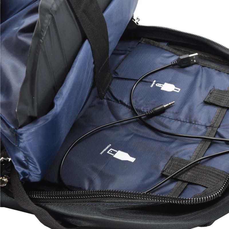 Inside view of the new Streetwise black bulletproof backpack for women and men.