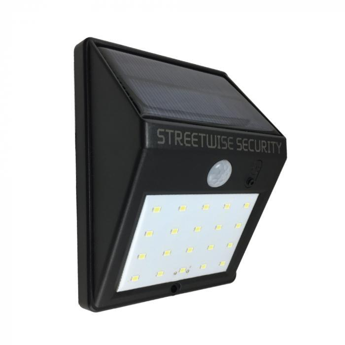 Streetwise SafeZone Solar Motion LED Light features a PIR motion sensor that is activated when movement is detected within 15 feet.