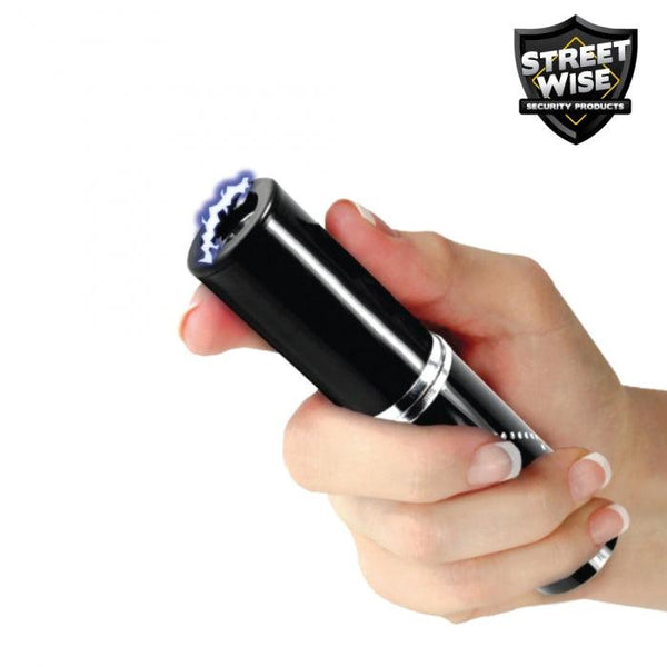 Black perfume protector stun gun for self defense protection.