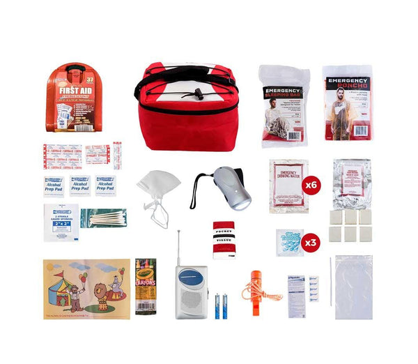 Survival Pal for children all items are packed securely in our Cooler Bag. Individual components are placed in waterproof bags and neatly organized in the cooler bag for easy access.