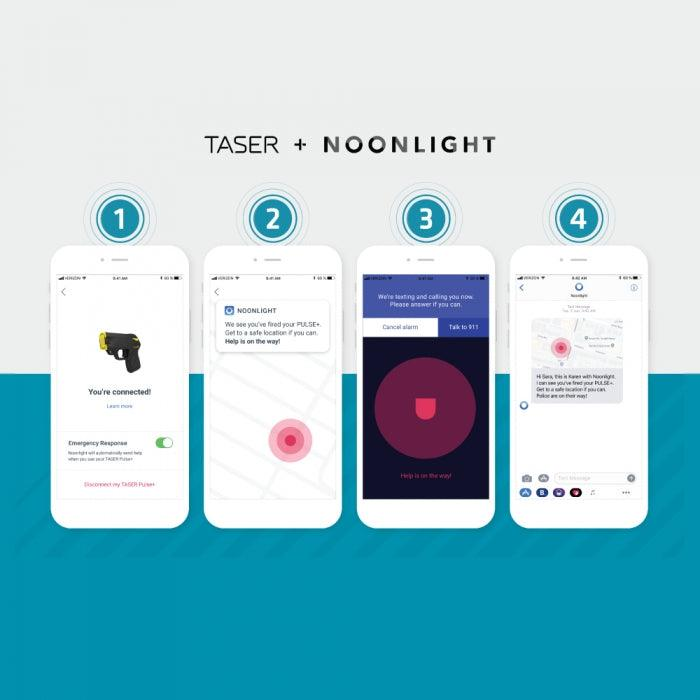 TASER Black Pulse Plus Noonlight Emergency Response App.