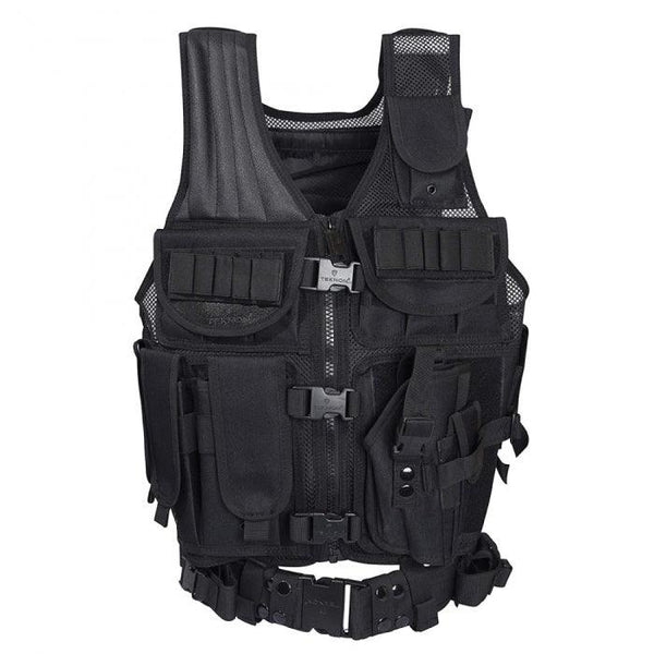 Teknon heavy duty tactical vest with belt developed for law enforcement, military and professionals.