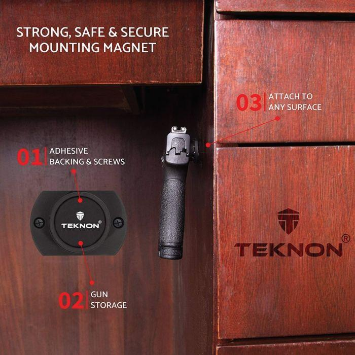 Teknon gun magnet used to conceal a handgun using the magnet under wood desktop.