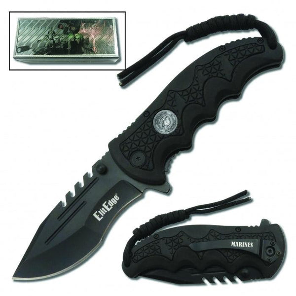 USMC Folding Knife Assisted Open w/Belt Clip & Paracord