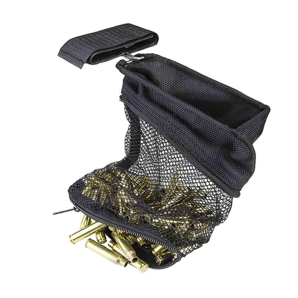 The Vism black mesh brass catcher for shooting practice to collect empty rounds.