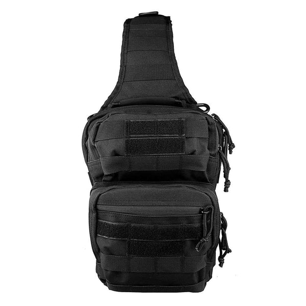 The Vism color black sling utility bag with PALs and MOLLE webbing.