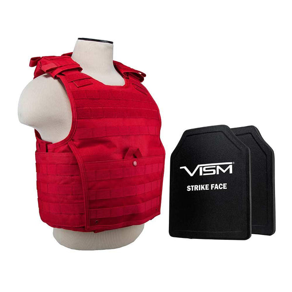 From Vism the new color red vest plate carrier with lightweight level 3A ballistic protection.