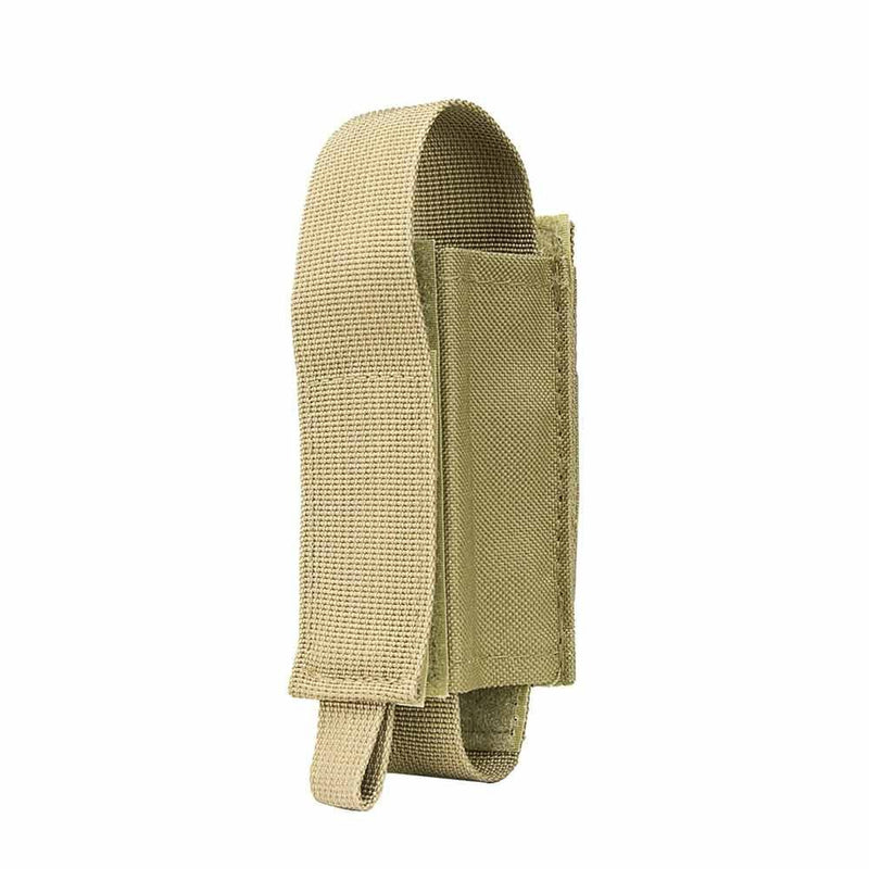 The Vism OC spray colot tan pouch for various sized pepper sprays and self defense protection.