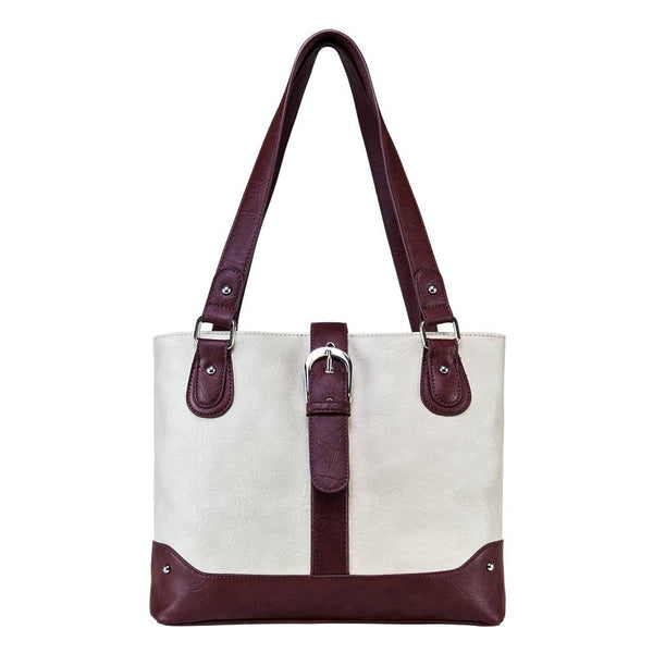 Shoulder Bag Off White Burgundy Trim