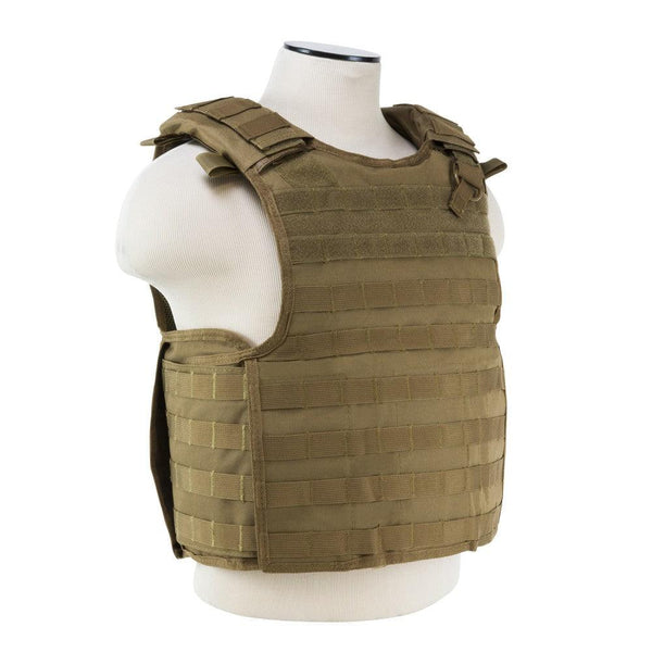 Vism tan color plate carrier with quick release buckles.