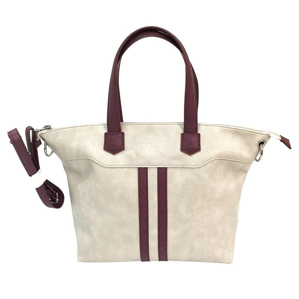 Satchel Off White Burgundy Trim