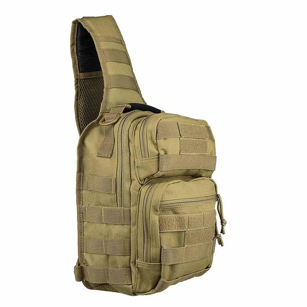 The Vism color tan shoulder sling utility bag for law enforcement and civilian use.