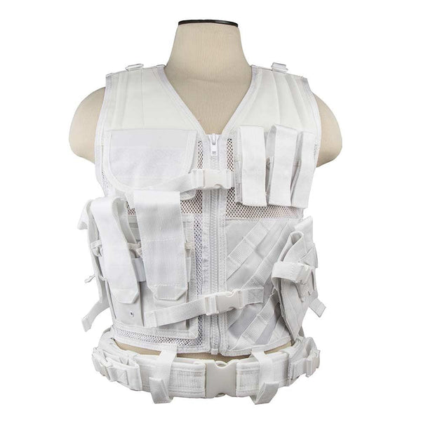 The Vism color white tactical vest adjustable for sizes from medium to x large.