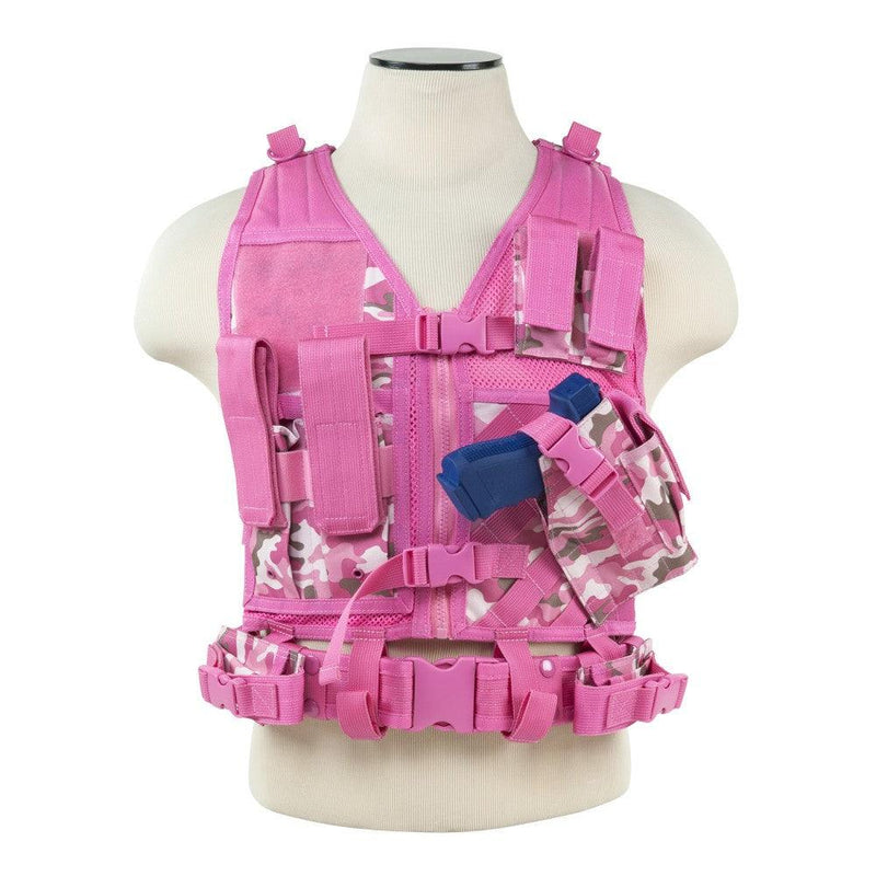 Vism Pink Camo tactical vest Fully adjustable Tactical Vest that helps keep your shooting gear organized easy access
