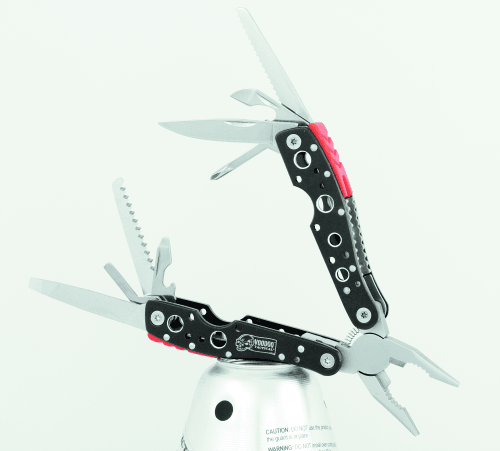 Voodoo's high quality, easy to grip multi-tool has #420 Stainless Steel tools that mount neatly inside the anodized aluminum handles