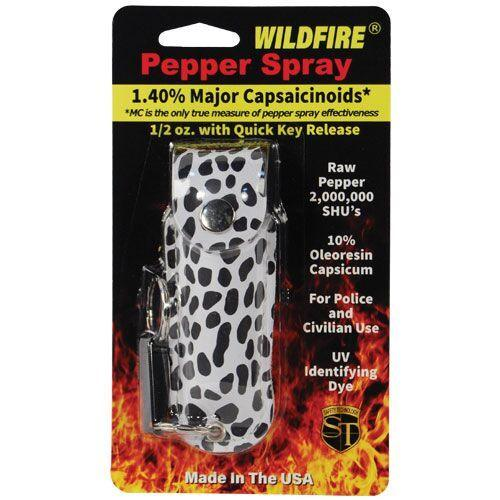 Fashion design wildfire pepper spray with black and white key-chain holster.
