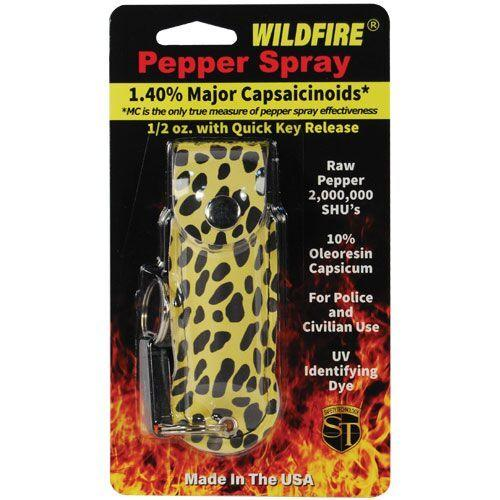 Wildfire pepper spray with key-chain for personal protection.