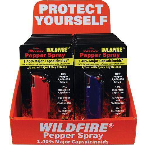 Hot Wild Fire pepper spay with sales counter display from Self Defense Products Inc.