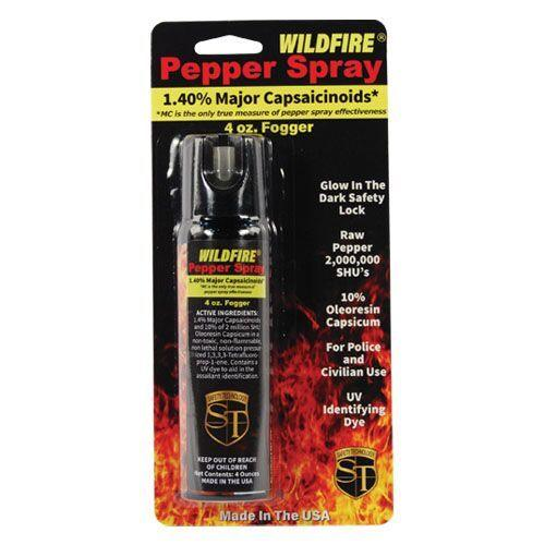 Wildfire pepper spray with safety flip top for law enforcement and civilian use.