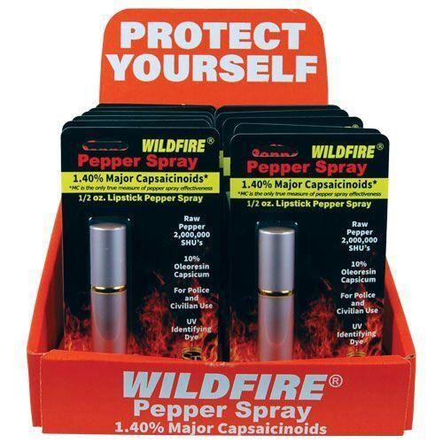 Wildfire lipstick pepper spray with sales counter display for all types of retailers.