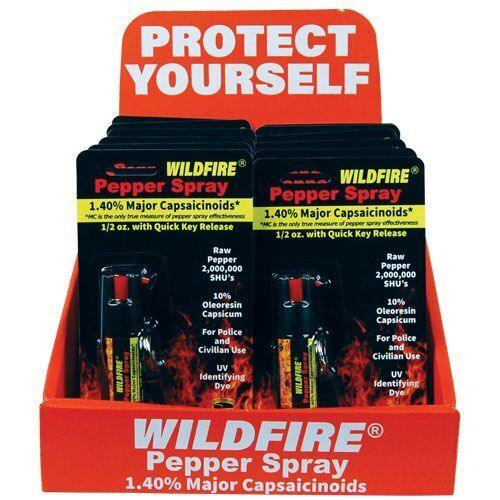 Wholesale bulk Wildfire pepper sprays with sales counter display offer high return for profits.