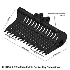 Hitachi ZX17U-2 Rake Riddle Bucket