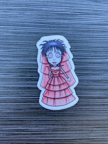 Girl in red dress Vinyl Sticker