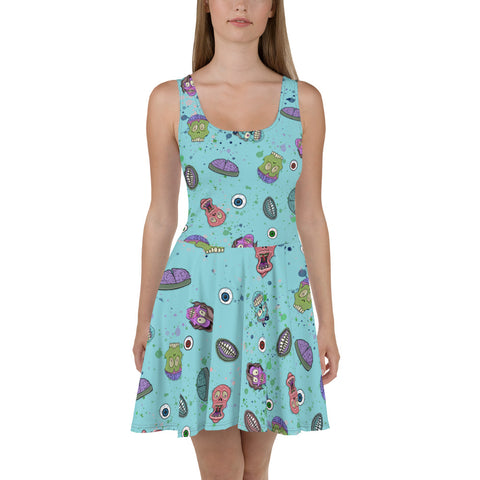 Zombie Halloween Skater Dress