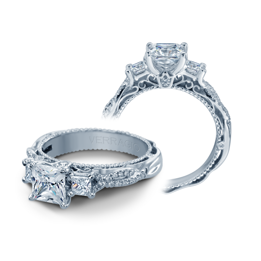 Verragio Venetian 0.50CTW Three - Stone Princess Cut Twist Shank Engagement Ring AFN-5013P