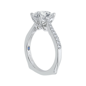 Round Diamond Solitaire with Accents Engagement Ring CARIZZA CA0040E-37W-1.50